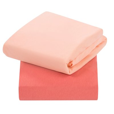 Clevamama Crib 2 Pack Fitted Sheets - Coral