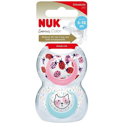 Nuk 6-18m Genius Silicone Soother - Pink