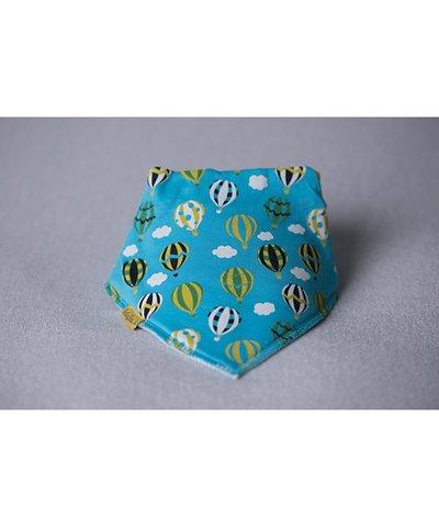 BabyBoo DribbleBoo Bandana Bib - Turquoise Hot Air Balloons