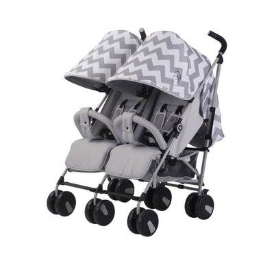 My Babiie Twin Stroller - Grey Chevron