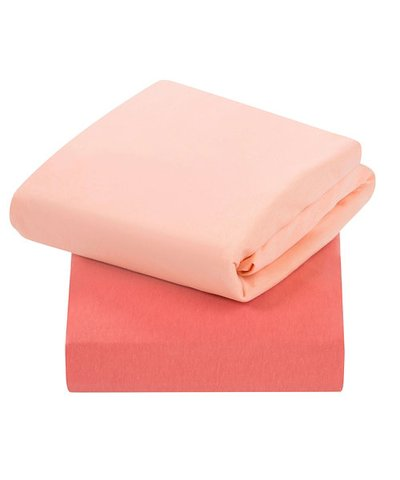Clevamama Fitted Cot Sheets 2 Pack - Coral