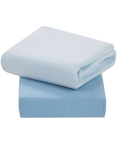 ClevaMama Cot 2 Pack Jersey Cotton Fitted Sheets - Blue