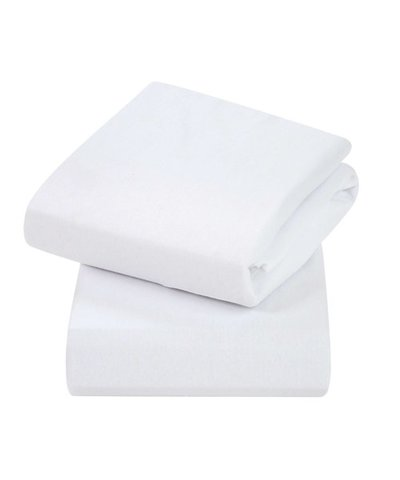 ClevaMama Cot 2 Pack Jersey Cotton Fitted Sheets - White