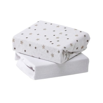 Baby Elegance Cot Bed 2 Pack Jersey Sheets - Grey Star - Default