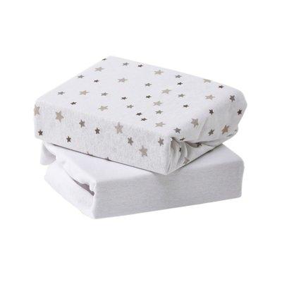 Baby Elegance Cot Bed 2 Pack Jersey Sheets - Grey Star - Default