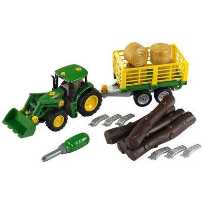 John Deere Tractor With Hay Bale