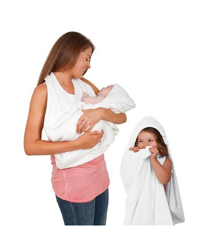 Clevamama - Splash & Wrap Baby Bath Towel - White