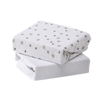 Baby Elegance Moses/Pram Fitted Sheet 2 Pack - Grey Star