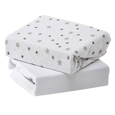 Baby Elegance Travel Cot Jersey Sheets 2 Pack - Grey