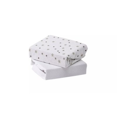 Baby Elegance Cot Sheets 2 Pack - Grey Star