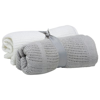 Baby Elegance Cellular Blanket 2 Pack - Grey & White