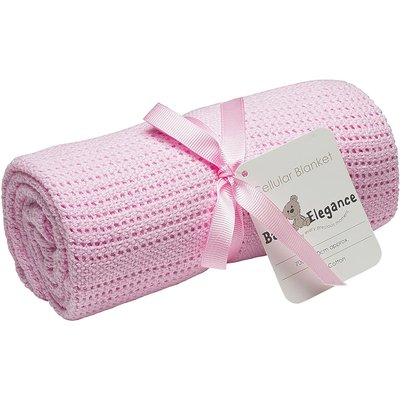 Baby Elegance Rolled Cellular Blanket - Pink 70x90cm - Default