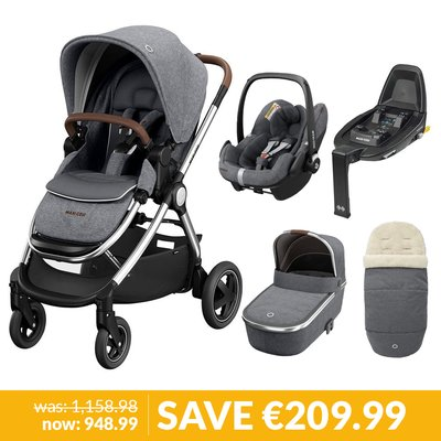 Maxi-Cosi Adorra Luxe Pushchair, Car Seat & Base Bundle - Grey Twillic
