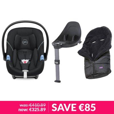 Cybex Aton M iSize Car Seat, Base & Clevamama Cosytoe Bundle - Deep Black