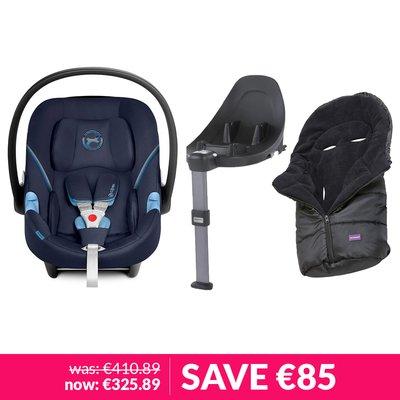 Cybex Aton M iSize Car Seat, Base & Clevamama Cosytoe Bundle - Navy Blue