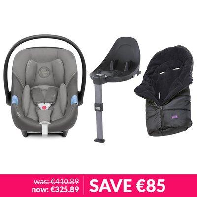 Cybex Aton M iSize Car Seat, Base & Clevamama Cosytoe Bundle - Soho Grey