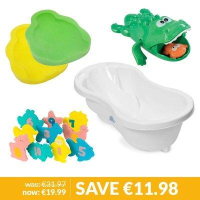 Babylo Bath, Bath Support, Clevabath Toys & ELC Swim & Catch Croc Bundle