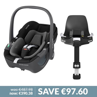 Maxi-Cosi 360 Pebble iSize Car Seat & Familyfix 360 Base Bundle - Essential Black