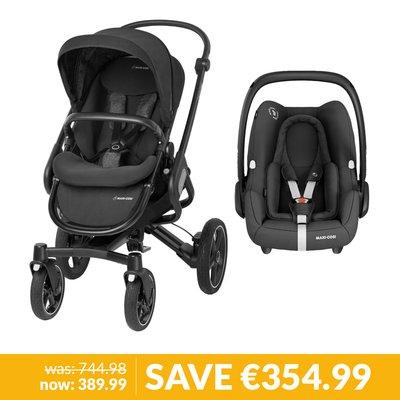 Maxi-Cosi Nova Pushchair & Rock Car Seat Bundle - Black Raven