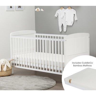 Cuddleco Juliet Cot Bed & Harmony Mattress Bundle - White