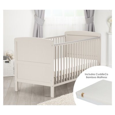 Cuddle Co Juliet Cot Bed & Harmony Mattress - Dove Grey