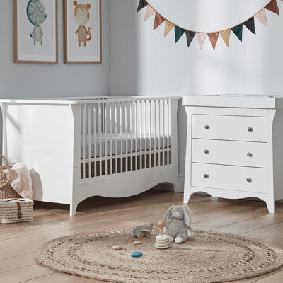 Cuddle Co Clara Cot Bed & Dresser Bundle - White