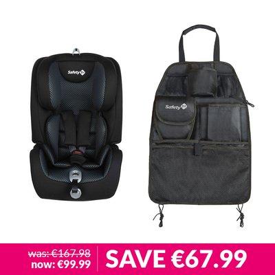 Safety 1st Everfix Car Seat & Backseat Organiser Bundle - Pixel Black
