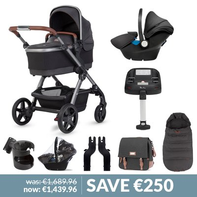 Silver Cross Wave Pushchair, Accessory Box, Simplicity Car Seat & Base Bundle - Charcoal