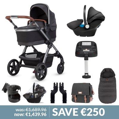 Silver Cross Wave Pushchair, Accessory Box, Simplicity Car Seat & Base Bundle - Charcoal