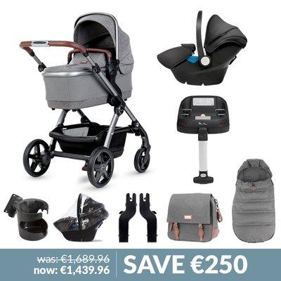 Silver Cross Wave Pushchair, Accessory Box, Simplicity Car Seat & Base Bundle - Zinc