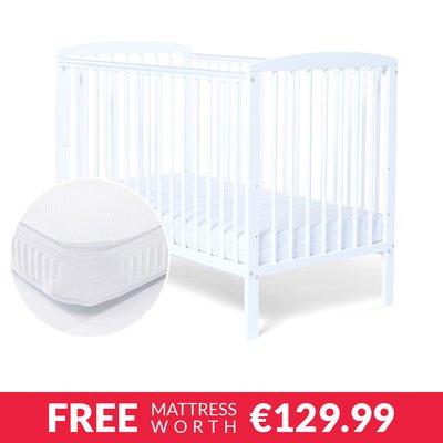 Baby Elegance Starlight Cot White & Mattress Bundle