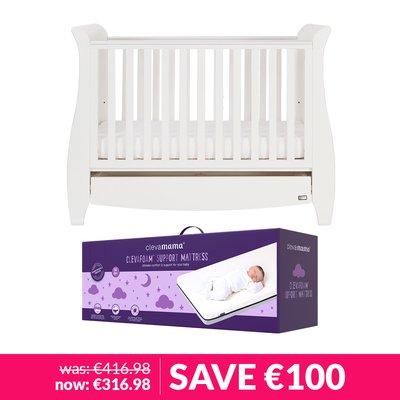 Tutti Bambini Katie Cot Bed 120x60cm & Mattress Bundle - White