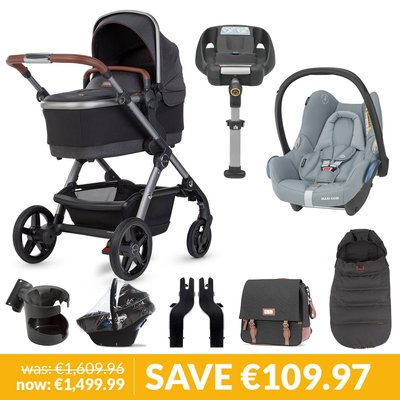 Silver Cross Wave Pushchair, Accessory Box, Maxi-Cosi Cabriofix & Base Bundle - Charcoal