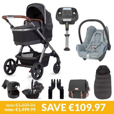 Silver Cross Wave Pushchair, Accessory Box, Maxi-Cosi Cabriofix & Base Bundle - Charcoal