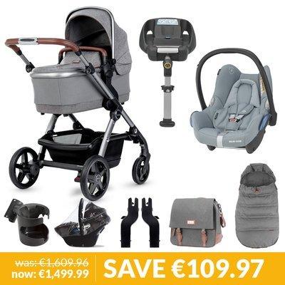 Silver Cross Wave Pushchair, Accessory Box, Maxi-Cosi Cabriofix & Base Bundle - Zinc