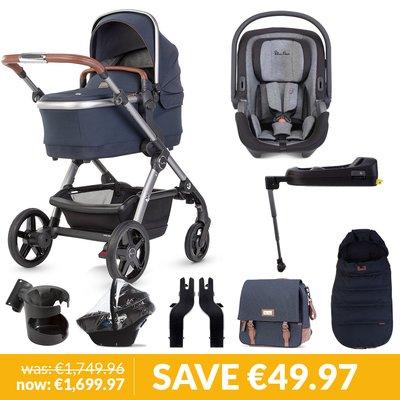Silver Cross Wave Pushchair, Accessory Box, Dream iSize Car Seat & Base Bundle - Indigo