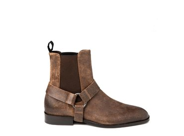 Leather-coloured ankle boot with removable strap