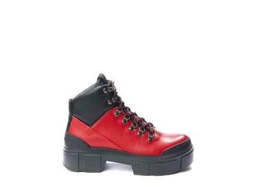 Red walking boot with metal hooks