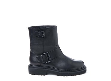 Black leather biker boot with buckle
