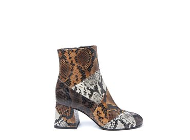 Brown snakeskin-effect patchwork ankle boot