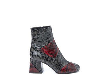 Red and black snakeskin-effect patchwork ankle boot