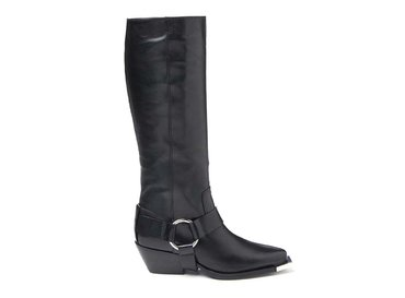Boot with strap and metal toe
