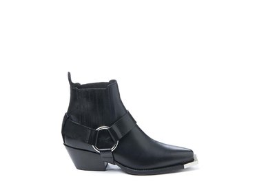 Black Beatle boot with strap and metal toe