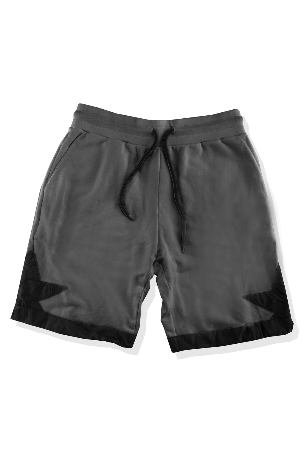 Fleece shorts with satin inserts