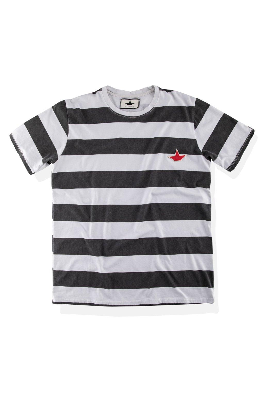 T-Shirt a Righe con Logo
