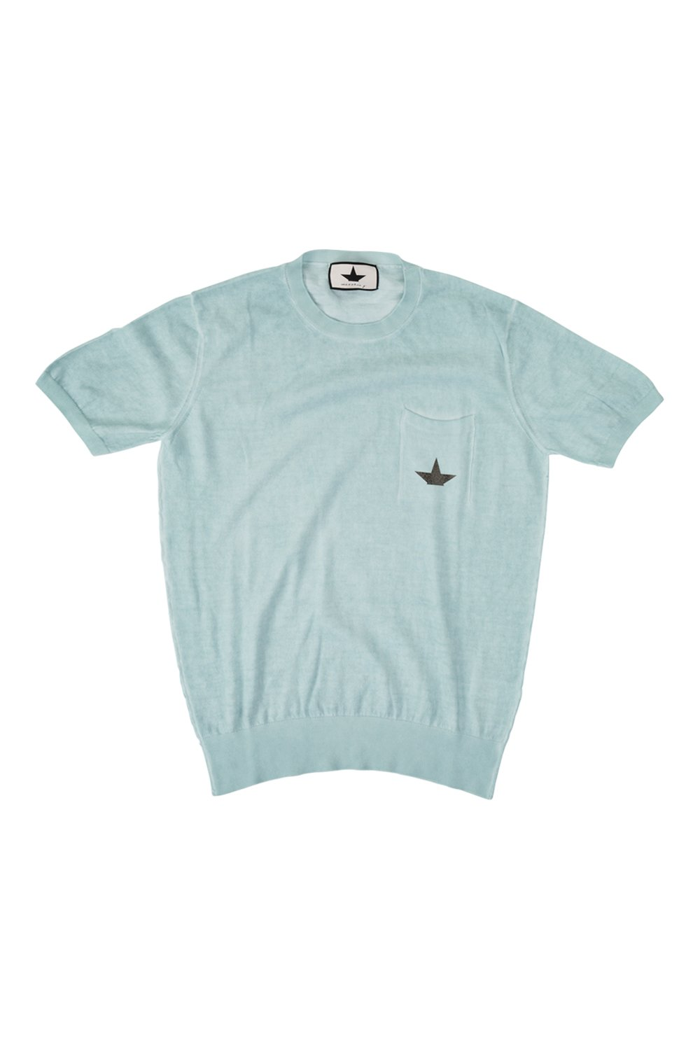 Short sleeve sweater with logo on breast pocket