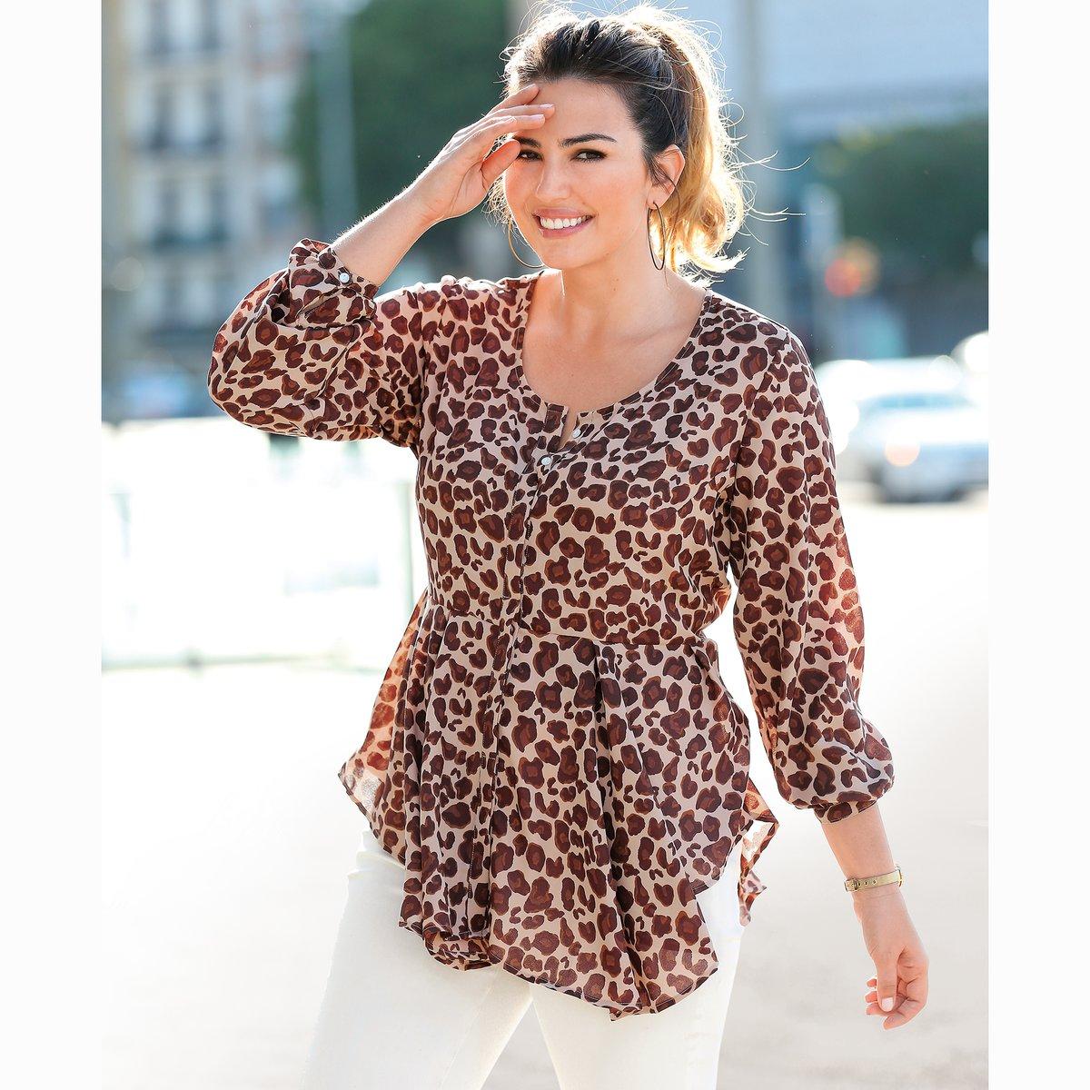 Blusa de manga larga MarrónEstampado de leopardo MUJER