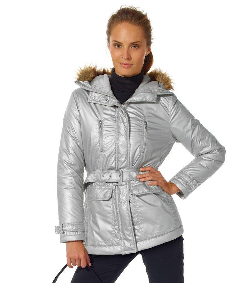 Chaquetón mujer con capucha y cinturón Talla:42
