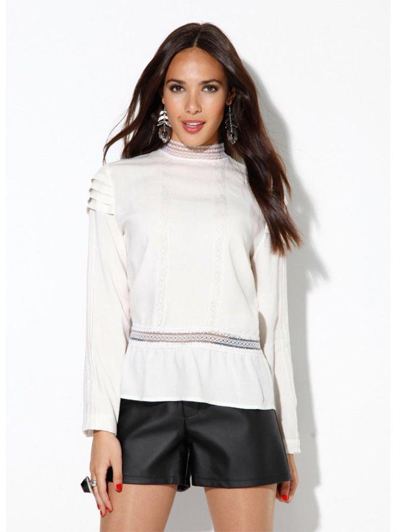 Blusa mujer manga larga con plisado y puntilla