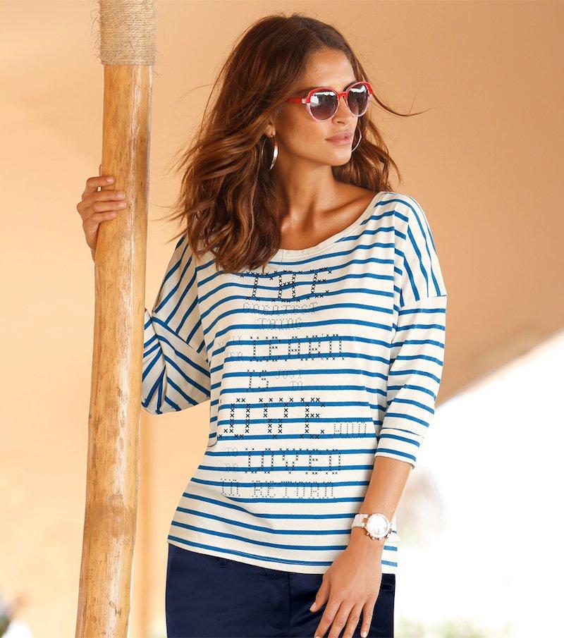 Camiseta mujer manga 3/4 rayas 100% algodón